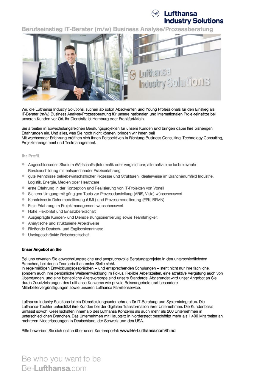 flexibilitt und mobilitt teamfhigkeit kommunikationsstrke belastbarkeit engagement und verantwortungsbewusstsein berufsrelevante praktika - Bewerbung Lufthansa